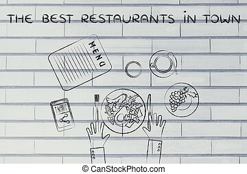 table with healthy food and text The best restaurants flat...