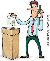 Voting - Man throws a ballot paper in the ballot box