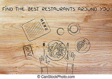 table with healthy food and text Find the best restaurants...