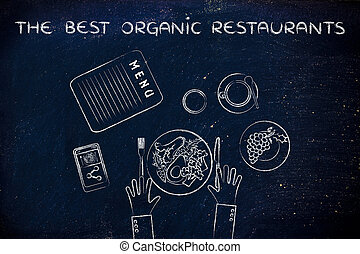table with healthy food and text The best organic...