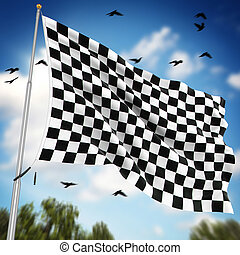 Checkered flag , This is a computer generated and 3d...