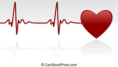 Heartbeat - Editable vector background - heart and heartbeat...