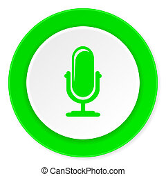microphone green fresh circle 3d modern flat design icon on...