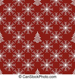 Christmas tree and red snowflake seamless pattern