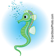 Seahorse - Vector Illustrations of cute Seahorse in the sea