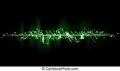 Green chaotic beam in a horizontal position Laser gunshot...