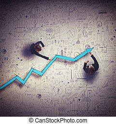 Draw business route - Business people draw a big arrow...