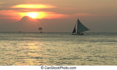 Sailboat during sunset time - Sunset on Barocay island,...