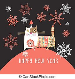 Beautiful Russian cat Happy New Year vector illustration