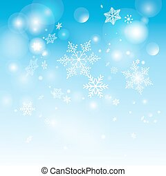 Beautiful shimmering snowflakes on a blue background vector...