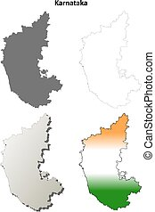 Karnataka blank detailed outline map set - Karnataka blank...