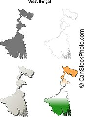 West Bengal blank outline map set - West Bengal blank...
