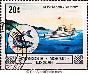 postage stamp shows boat and fish - MONGOLIA - CIRCA 1982:...