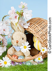 Basket with easter bunny