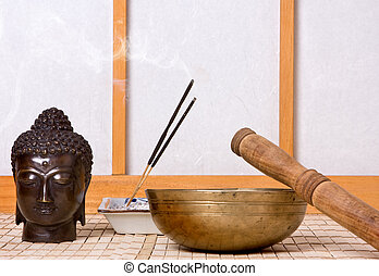 Oriental sound - Oriental chime and incense with bronze...