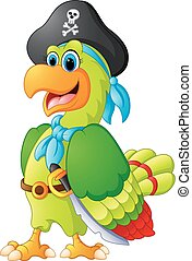 funny parrot with pirate costum