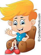 Cartoon boy sitting