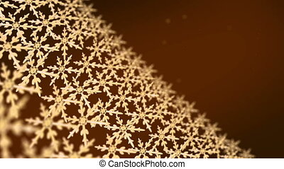 snowflakes array tracking 4K gold - Ice crystal snowflakes...