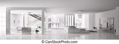 White Apartment interior 3d - White Apartment interior...