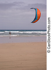 Kitesurfer at Famara Beach
