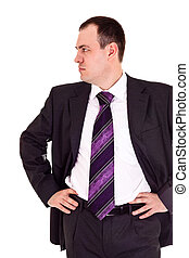 serious businessman looks somewhere, white background
