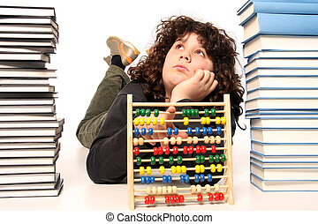 mathematic - boy with abacus calculator with colored beads...