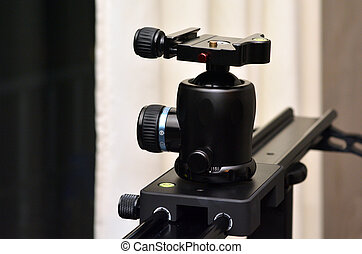 Tripod ball head mounted on camera slider - Tripod ball head...