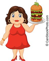 Cartoon overweight woman - Vector illustration of Cartoon...