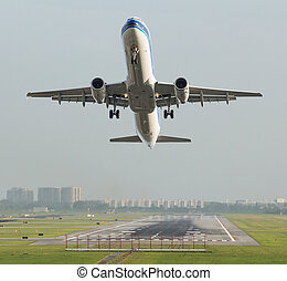 Commercial airplane take off from the runway