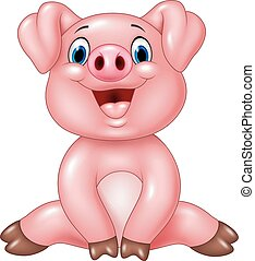 Cartoon adorable baby pig isolated