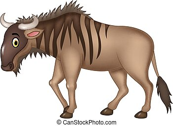 Cartoon adorable wildebeest isolate - Vector illustration of...