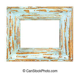 Vintage worn Blue Frame isolated on a white background