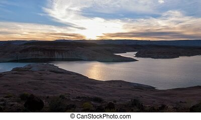 Beautiful Sunset Sky Lake Powell Timelapse - 4k time-lapse...