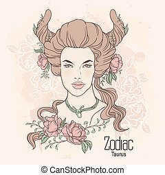 Zodiac. Vector Taurus - Zodiac. Vector illustration of...