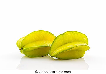Star fruit or Carambola - Star fruit or Carambola on white...