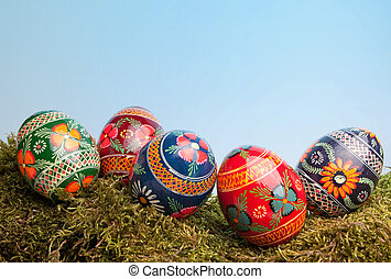 Ukrainian easter eggs - Colorful Ukrainian easter eggs lying...