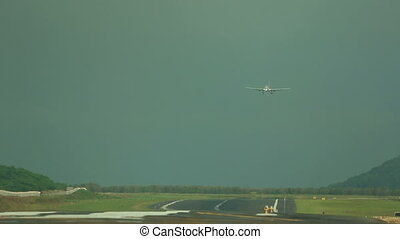 Airplane landing - Airbus 330 approaching at Phuket...