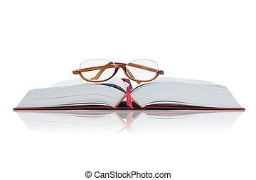 メガネ, 開いた, 本