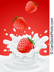 red strawberry fruits falling into the milky splash -...