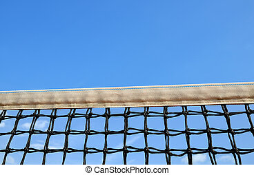 Tennis net on blue sky