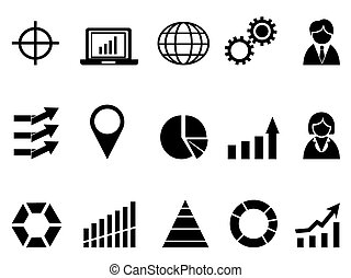 black business infographic icons - isolated black business...