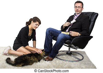 Father Cleaning Cat Fur off His Jacket - Father cleaning off...