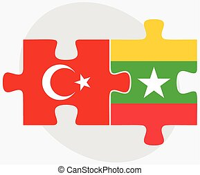 Turkey and Myanmar Flags in puzzle isolated on white...
