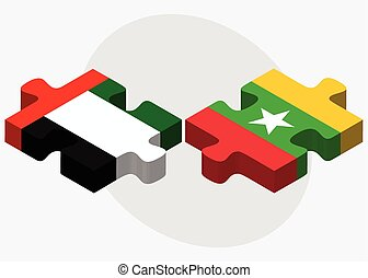 United Arab Emirates and Myanmar Flags in puzzle isolated on...