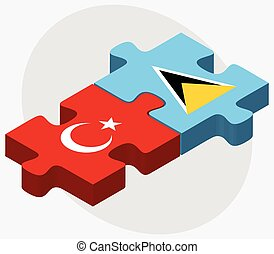 Turkey and Saint Lucia Flags in puzzle isolated on white...