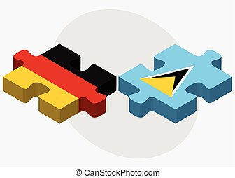 Germany and Saint Lucia Flags in puzzle isolated on white...