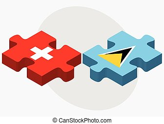 Switzerland and Saint Lucia Flags in puzzle isolated on...