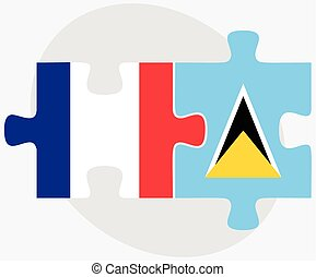 France and Saint Lucia Flags in puzzle isolated on white...