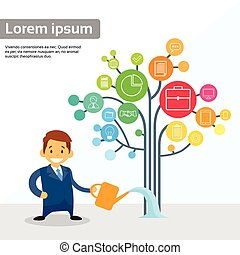 Businessman Watering Business Icon Tree Flat Vector...