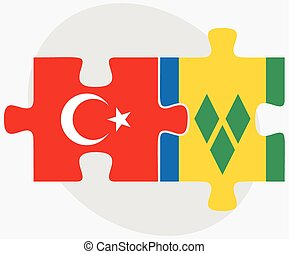 Turkey and Saint Vincent and the Grenadines Flags in puzzle...